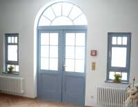 Haustür 2flg. blau innen